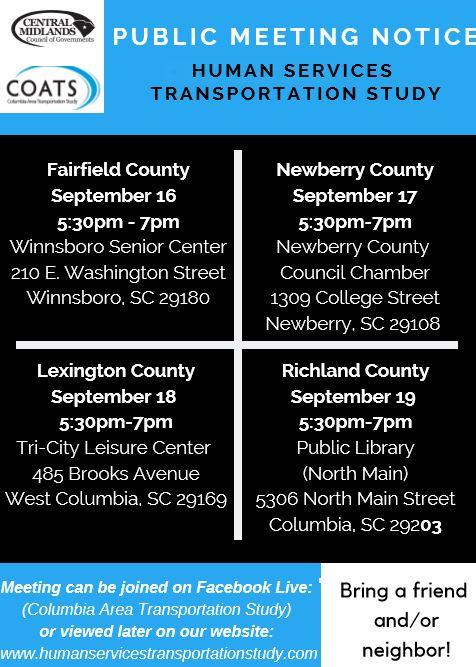 Central Midlands County of Governments Public Meetings